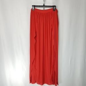 F21 Chiffon Sheer Petal Full Slit Maxi Skirt